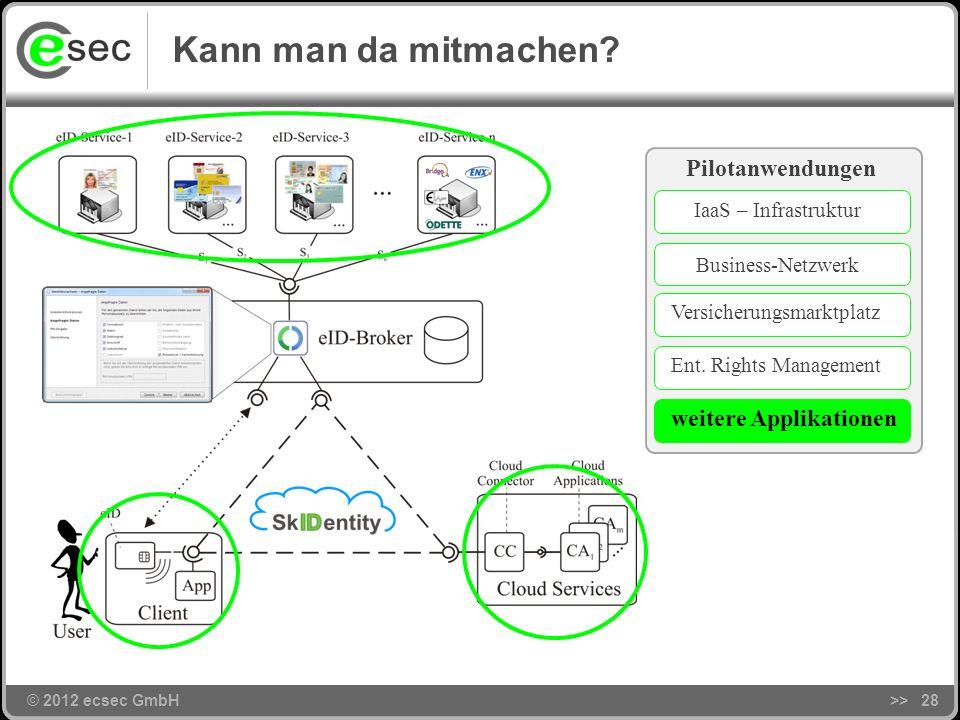 © 2012 ecsec GmbH>>27 Agenda © 2012 ecsec GmbH Motivation Ziel und Problemstellung Das SkIDentity-Projekt Kann man da mitmachen? Zusammenfassung