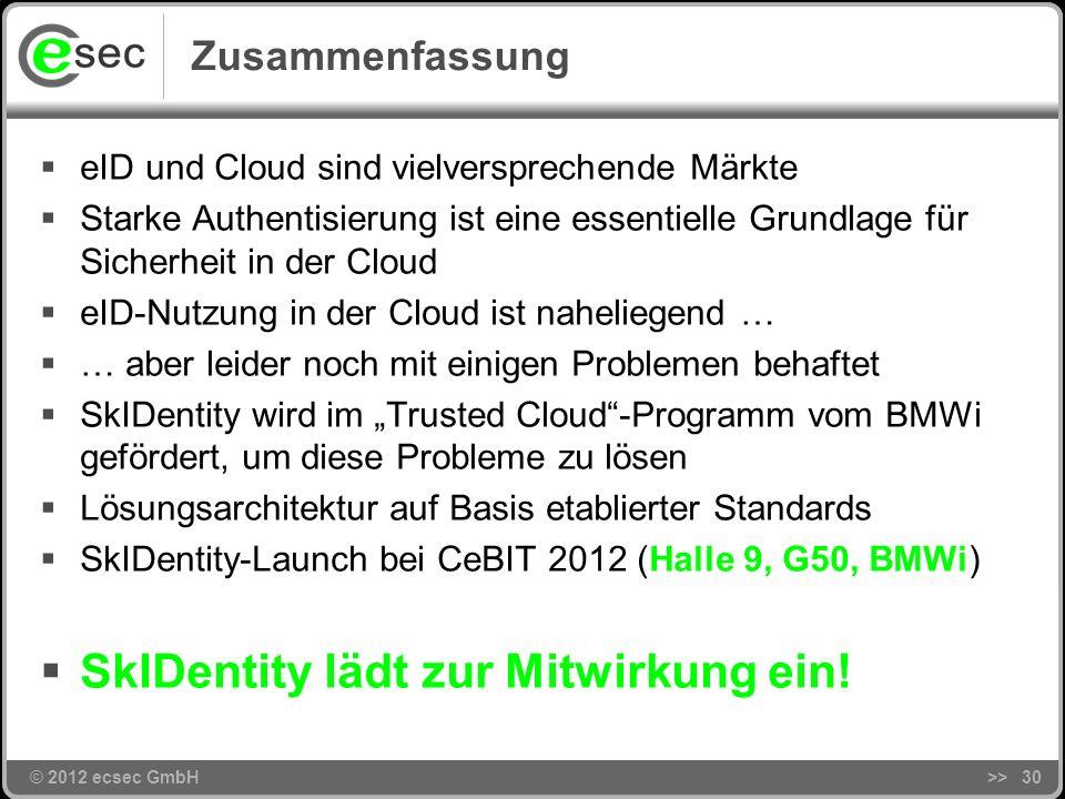 © 2012 ecsec GmbH>>29 Agenda © 2012 ecsec GmbH Motivation Ziel und Problemstellung Das SkIDentity-Projekt Kann man da mitmachen? Zusammenfassung