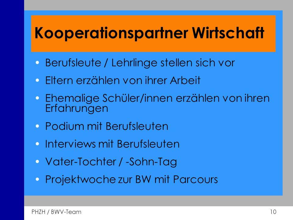 PHZH / BWV-Team 10 Kooperationspartner Wirtschaft Berufsleute / Lehrlinge stellen sich vor Eltern erzählen von ihrer Arbeit Ehemalige Schüler/innen er