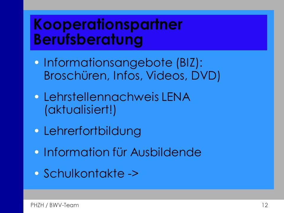 PHZH / BWV-Team 12 Kooperationspartner Berufsberatung Informationsangebote (BIZ): Broschüren, Infos, Videos, DVD) Lehrstellennachweis LENA (aktualisie