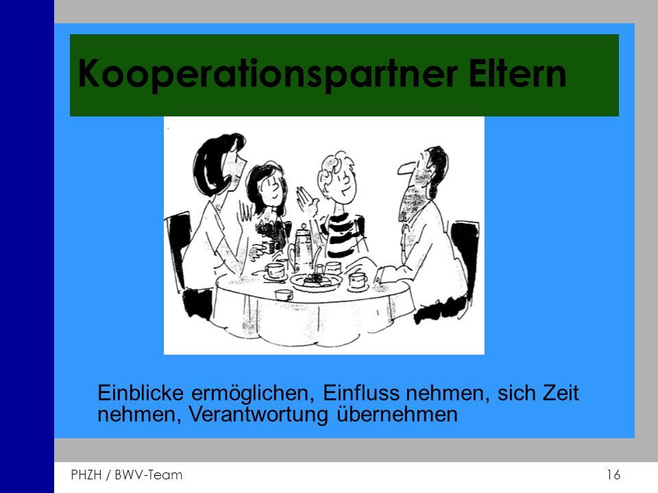 PHZH / BWV-Team 16 Kooperationspartner Eltern Einblicke ermöglichen, Einfluss nehmen, sich Zeit nehmen, Verantwortung übernehmen