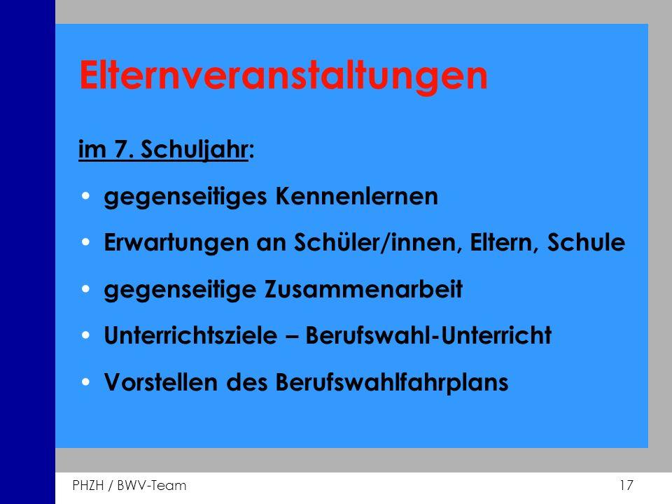 PHZH / BWV-Team 17 Elternveranstaltungen im 7. Schuljahr: gegenseitiges Kennenlernen Erwartungen an Schüler/innen, Eltern, Schule gegenseitige Zusamme