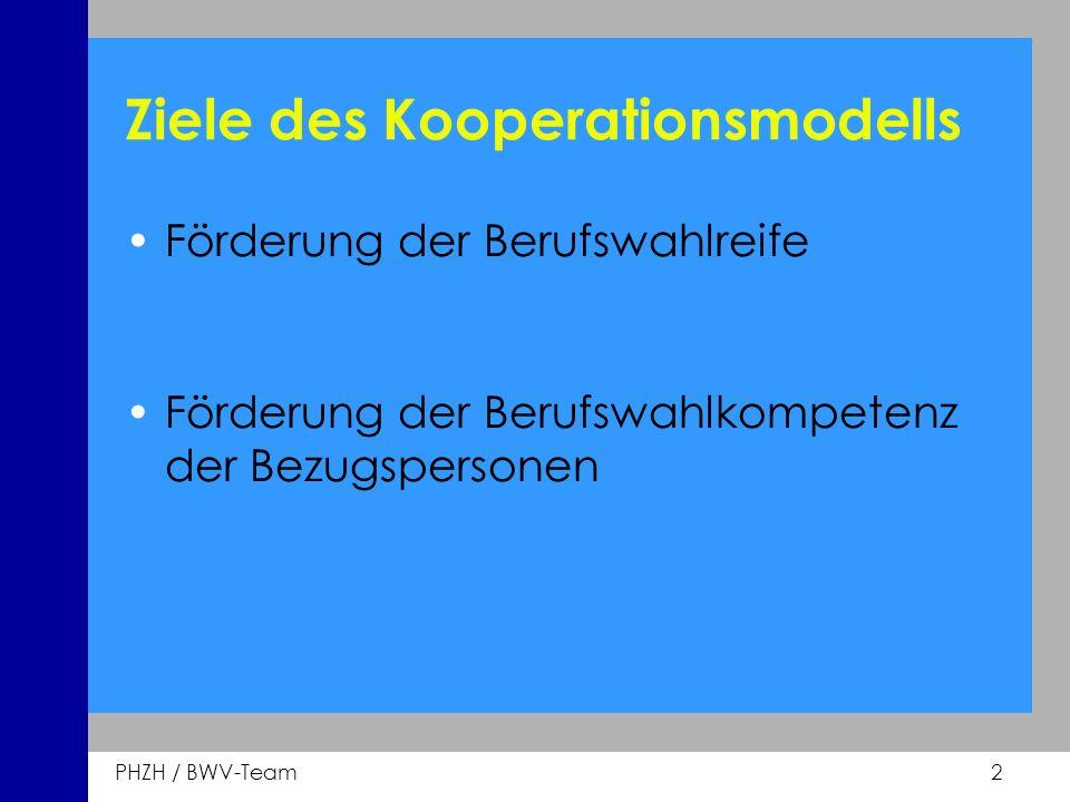 PHZH / BWV-Team 2 Ziele des Kooperationsmodells Förderung der Berufswahlreife Förderung der Berufswahlkompetenz der Bezugspersonen