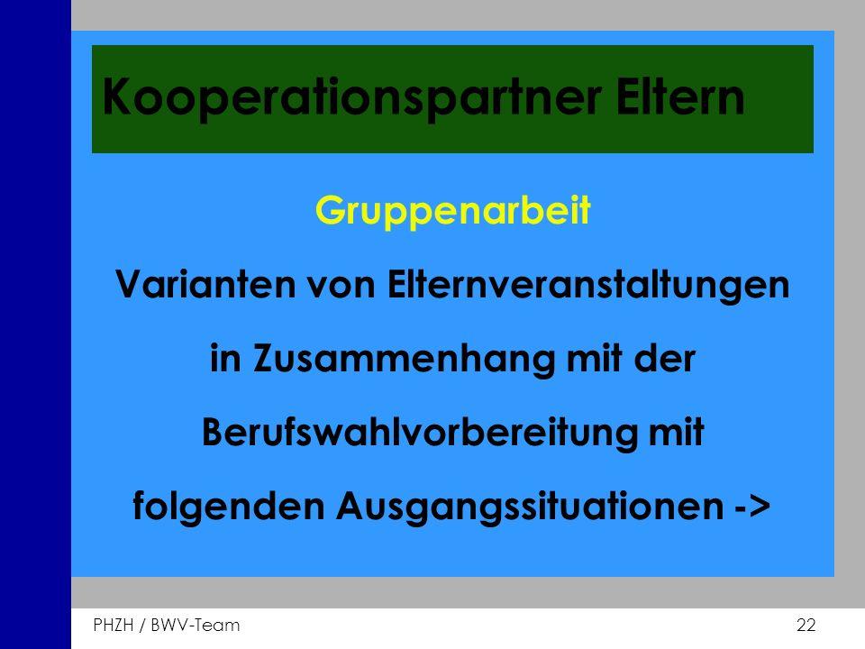 PHZH / BWV-Team 22 Kooperationspartner Eltern Gruppenarbeit Varianten von Elternveranstaltungen in Zusammenhang mit der Berufswahlvorbereitung mit fol