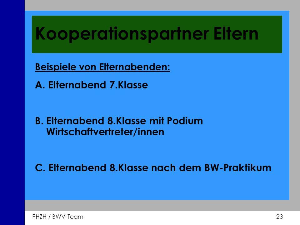 PHZH / BWV-Team 23 Kooperationspartner Eltern Beispiele von Elternabenden: A. Elternabend 7.Klasse B. Elternabend 8.Klasse mit Podium Wirtschaftvertre