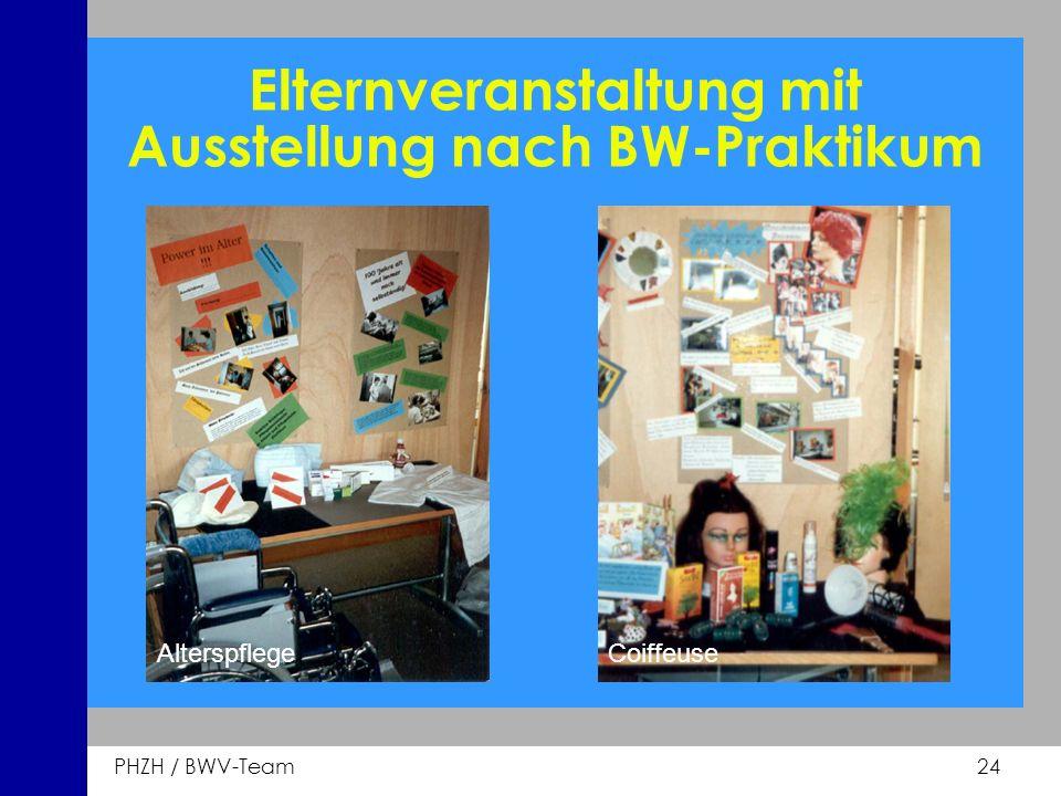 PHZH / BWV-Team 24 Elternveranstaltung mit Ausstellung nach BW-Praktikum AlterspflegeCoiffeuse