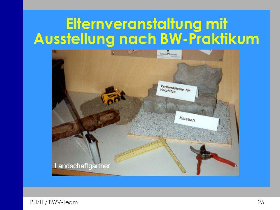PHZH / BWV-Team 25 Elternveranstaltung mit Ausstellung nach BW-Praktikum Landschaftgärtner