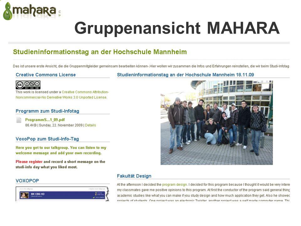 Gruppenansicht MAHARA