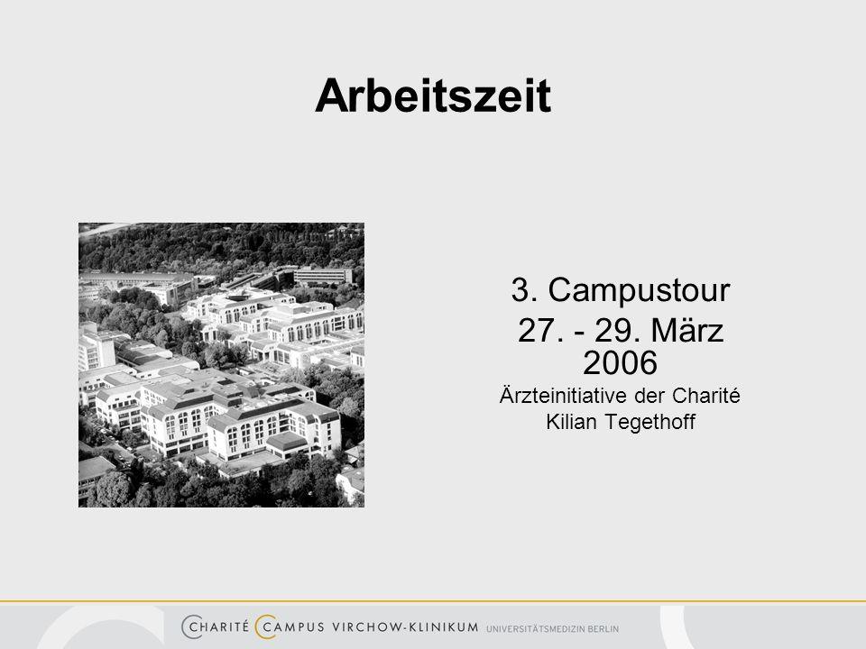 Arbeitszeit 3. Campustour 27. - 29. März 2006 Ärzteinitiative der Charité Kilian Tegethoff