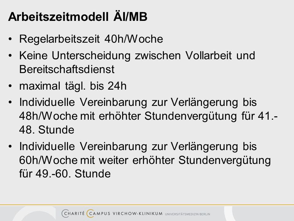 Arbeitszeitmodell ÄI/MB Regelarbeitszeit 40h/Woche Keine Unterscheidung zwischen Vollarbeit und Bereitschaftsdienst maximal tägl. bis 24h Individuelle