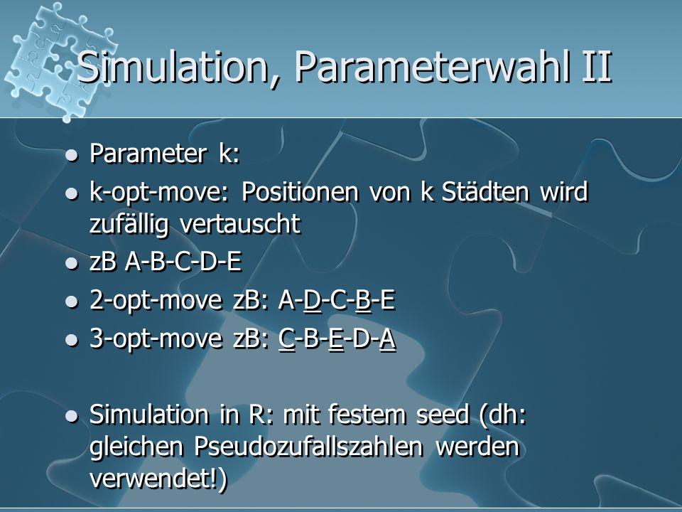 Simulation, Parameterwahl II Parameter k: k-opt-move: Positionen von k Städten wird zufällig vertauscht zB A-B-C-D-E 2-opt-move zB: A-D-C-B-E 3-opt-mo