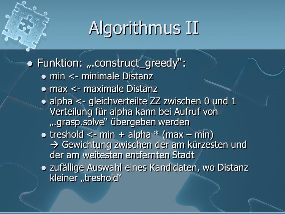 Algorithmus II Funktion:.construct_greedy: min <- minimale Distanz max <- maximale Distanz alpha <- gleichverteilte ZZ zwischen 0 und 1 Verteilung für