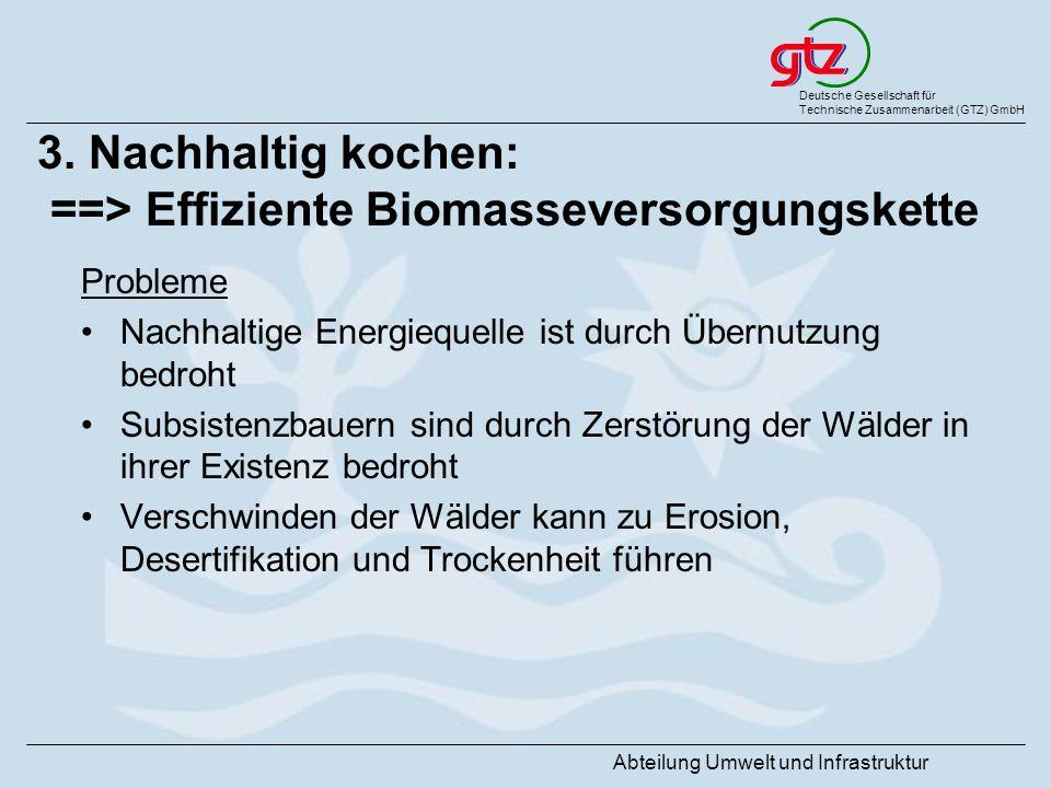 Deutsche Gesellschaft für Technische Zusammenarbeit (GTZ) GmbH Abteilung Umwelt und Infrastruktur 3. Nachhaltig kochen: ==> Effiziente Biomasseversorg