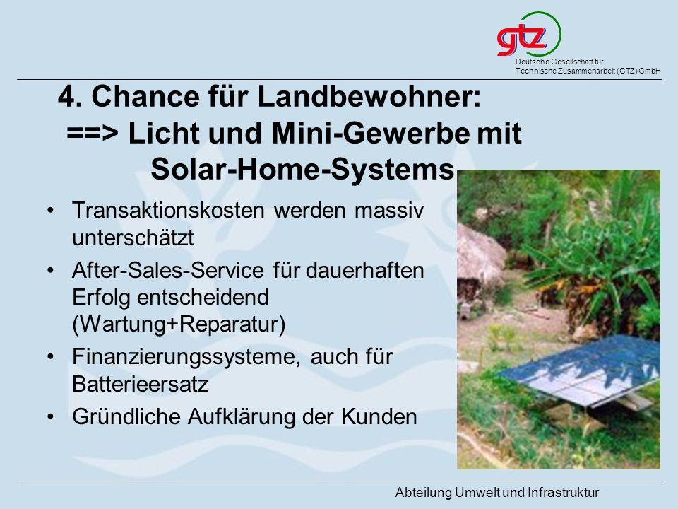 Deutsche Gesellschaft für Technische Zusammenarbeit (GTZ) GmbH Abteilung Umwelt und Infrastruktur 4. Chance für Landbewohner: ==> Licht und Mini-Gewer