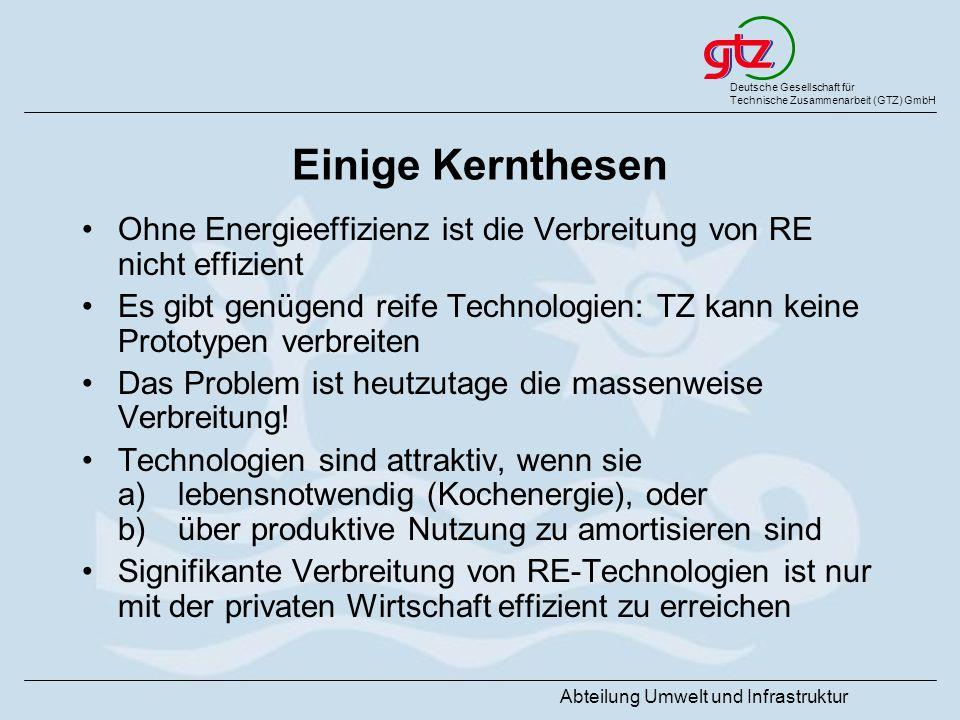 Deutsche Gesellschaft für Technische Zusammenarbeit (GTZ) GmbH Abteilung Umwelt und Infrastruktur Einige Kernthesen Ohne Energieeffizienz ist die Verb