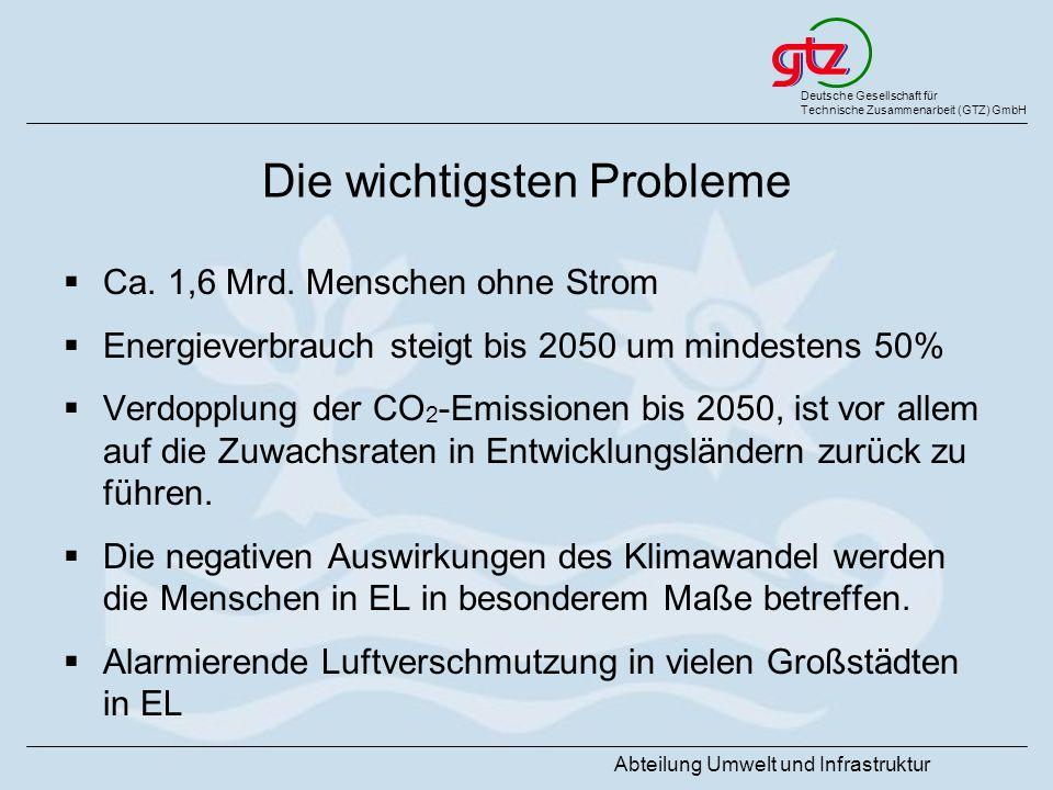 Deutsche Gesellschaft für Technische Zusammenarbeit (GTZ) GmbH Abteilung Umwelt und Infrastruktur Die wichtigsten Probleme Ca. 1,6 Mrd. Menschen ohne