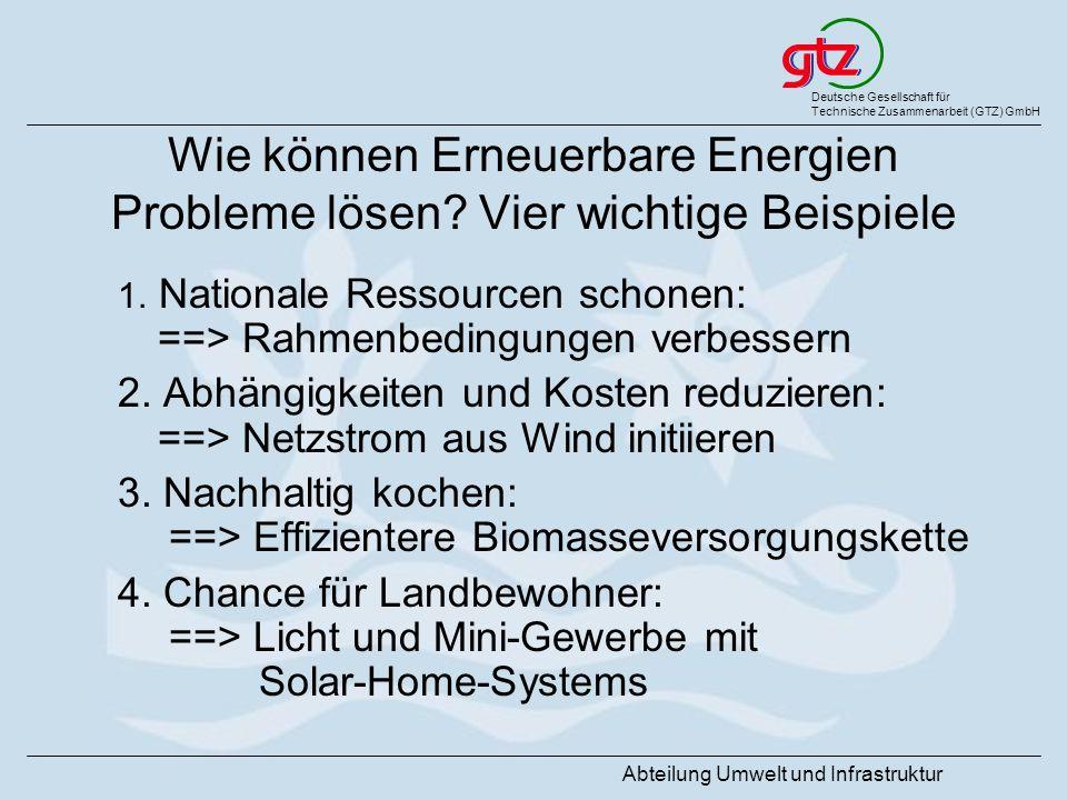 Deutsche Gesellschaft für Technische Zusammenarbeit (GTZ) GmbH Abteilung Umwelt und Infrastruktur Wie können Erneuerbare Energien Probleme lösen? Vier