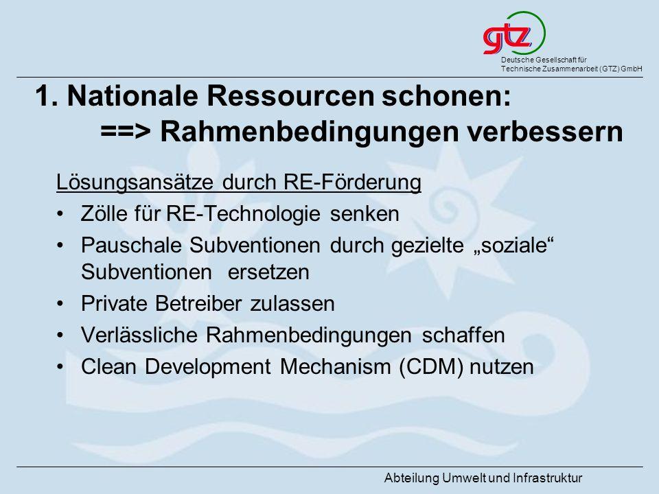 Deutsche Gesellschaft für Technische Zusammenarbeit (GTZ) GmbH Abteilung Umwelt und Infrastruktur 1. Nationale Ressourcen schonen: ==> Rahmenbedingung
