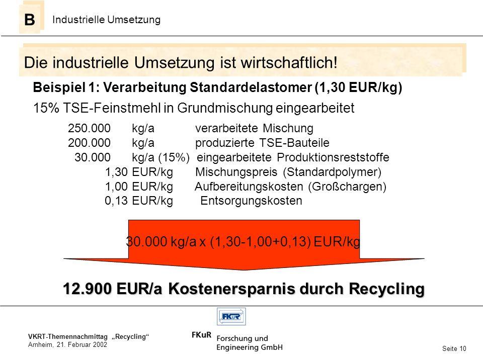 VKRT-Themennachmittag Recycling Arnheim, 21. Februar 2002 Die industrielle Umsetzung ist wirtschaftlich! B B Industrielle Umsetzung Seite 10 15% TSE-F