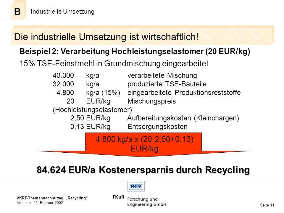 VKRT-Themennachmittag Recycling Arnheim, 21. Februar 2002 Die industrielle Umsetzung ist wirtschaftlich! B B Industrielle Umsetzung Seite 11 15% TSE-F