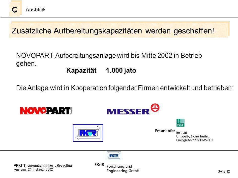 VKRT-Themennachmittag Recycling Arnheim, 21. Februar 2002 Zusätzliche Aufbereitungskapazitäten werden geschaffen! C C Ausblick Seite 12 NOVOPART-Aufbe
