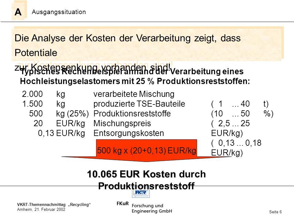 VKRT-Themennachmittag Recycling Arnheim, 21. Februar 2002 Die Analyse der Kosten der Verarbeitung zeigt, dass Potentiale zur Kostensenkung vorhanden s