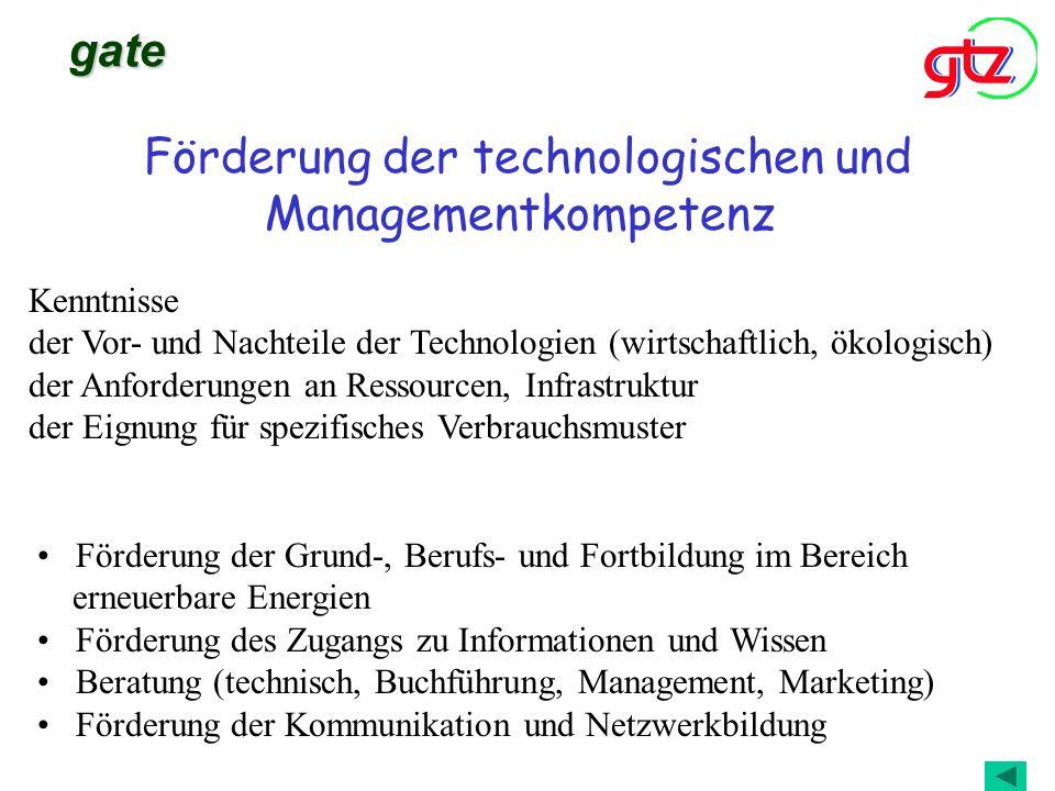 Förderung der technologischen und Managementkompetenz gate Förderung der Grund-, Berufs- und Fortbildung im Bereich erneuerbare Energien Förderung des
