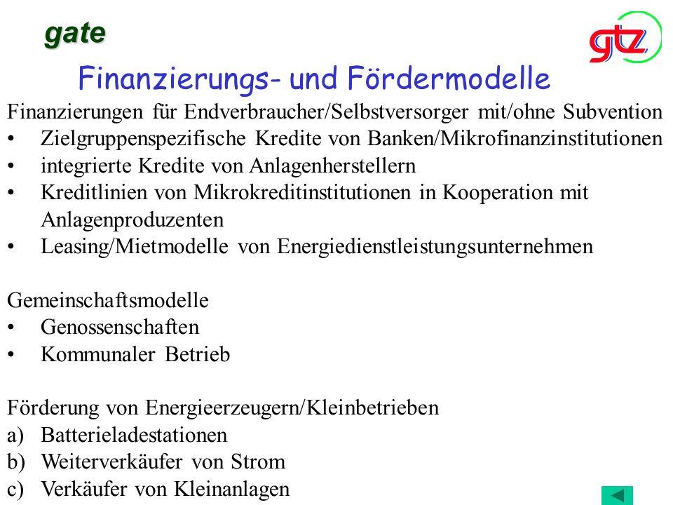 Finanzierungs- und Fördermodelle gate Finanzierungen für Endverbraucher/Selbstversorger mit/ohne Subvention Zielgruppenspezifische Kredite von Banken/
