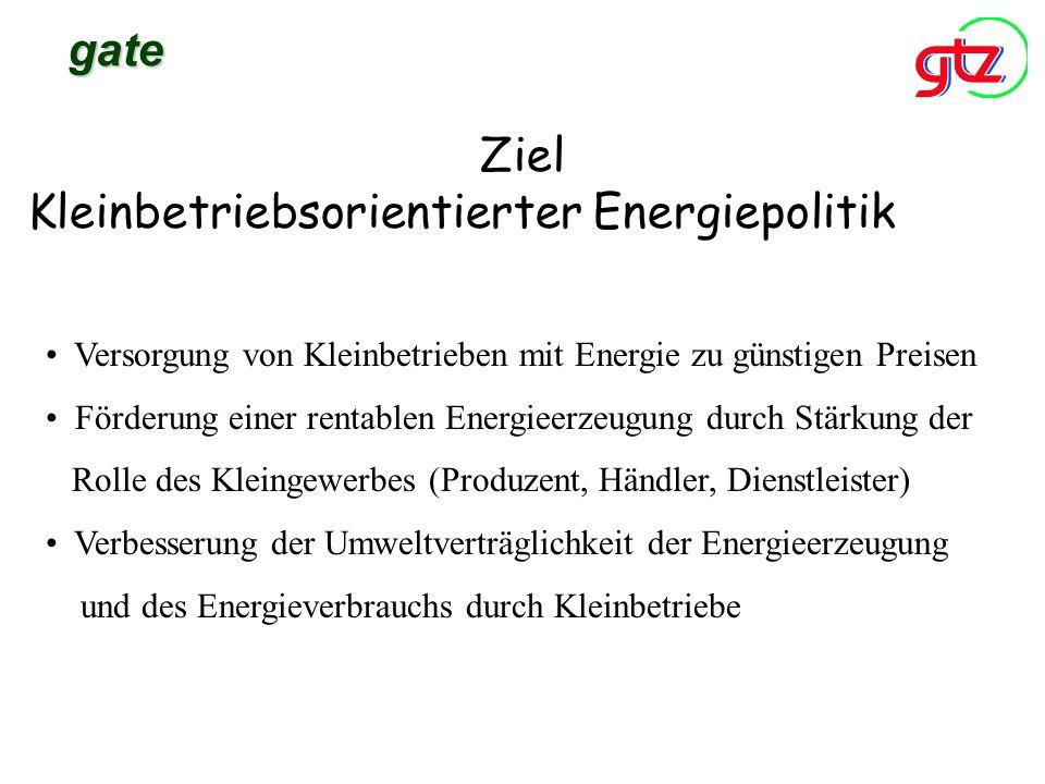 Ziel Kleinbetriebsorientierter Energiepolitik gate Versorgung von Kleinbetrieben mit Energie zu günstigen Preisen Förderung einer rentablen Energieerz