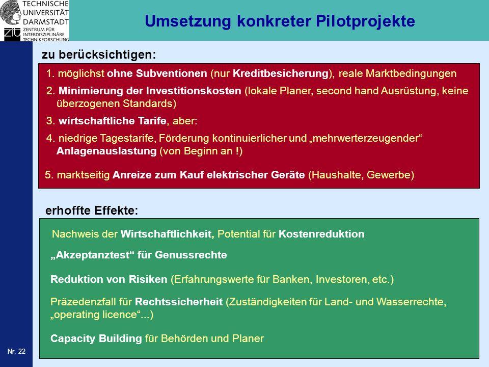 Nr. 22 Umsetzung konkreter Pilotprojekte Reduktion von Risiken (Erfahrungswerte für Banken, Investoren, etc.) Präzedenzfall für Rechtssicherheit (Zust