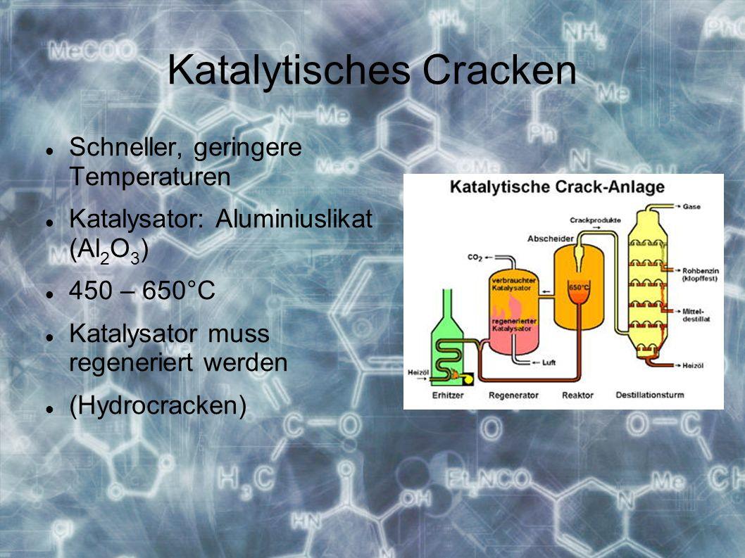 Katalytisches Cracken Schneller, geringere Temperaturen Katalysator: Aluminiuslikat (Al 2 O 3 ) 450 – 650°C Katalysator muss regeneriert werden (Hydrocracken)
