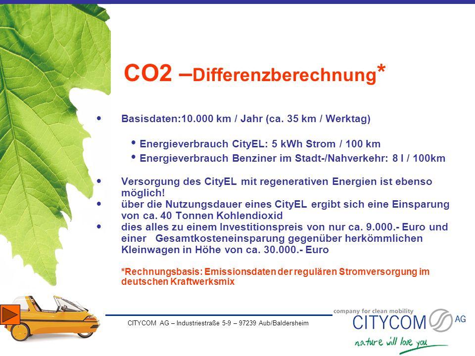 CITYCOM AG – Industriestraße 5-9 – 97239 Aub/Baldersheim CO2 – Differenzberechnung * Basisdaten:10.000 km / Jahr (ca. 35 km / Werktag) Energieverbrauc