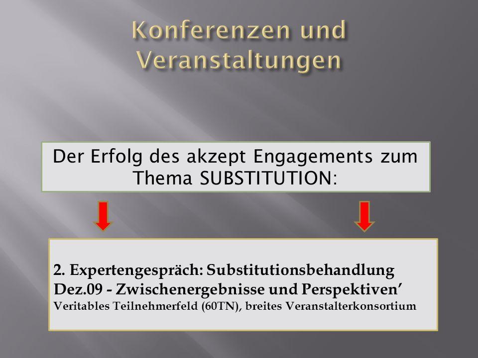 Der Erfolg des akzept Engagements zum Thema SUBSTITUTION: 2. Expertengespräch: Substitutionsbehandlung Dez.09 - Zwischenergebnisse und Perspektiven Ve