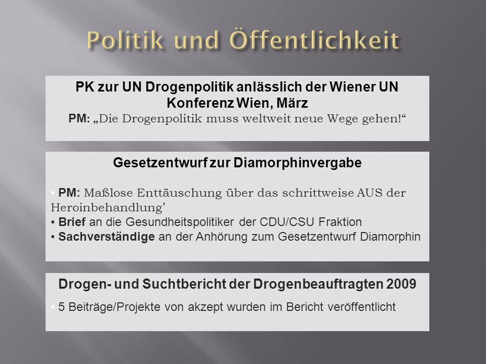 PK zur UN Drogenpolitik anlässlich der Wiener UN Konferenz Wien, März PM : Die Drogenpolitik muss weltweit neue Wege gehen! Gesetzentwurf zur Diamorph
