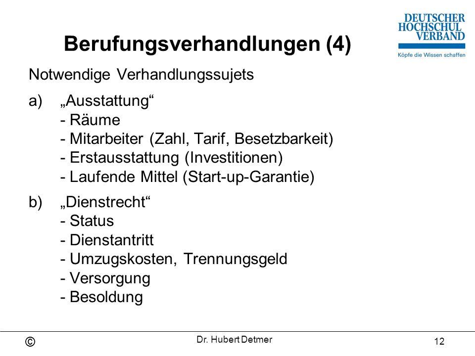 © Dr.Hubert Detmer 13 Berufungsverhandlungen (5) 2.a) Baumaßnahmen, Mobiliar b) Garantiesumme lfd.