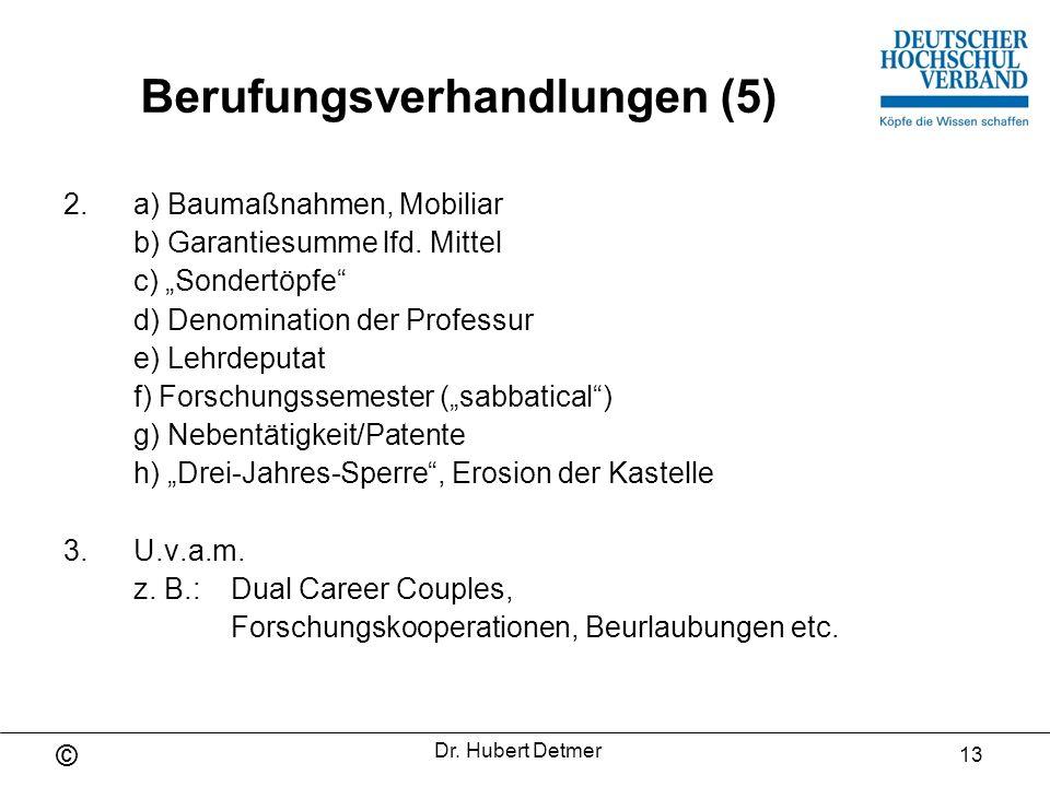 © Dr. Hubert Detmer 14 Berufungsverfahren und Berufungsverhandlungen (Teil II)