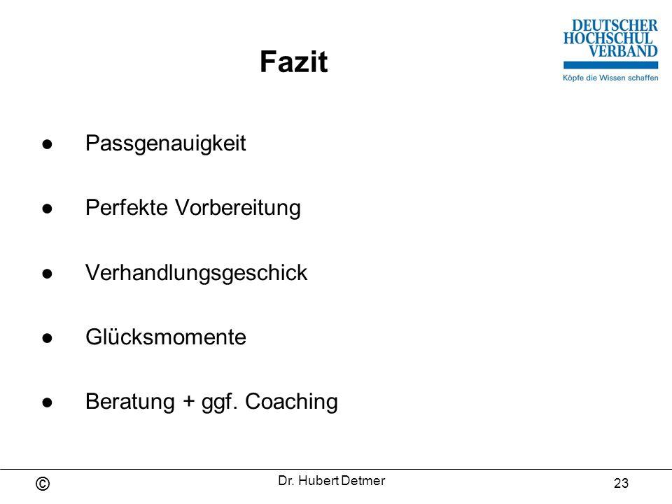 © Dr.Hubert Detmer 24 Besten Dank für Ihr Interesse.