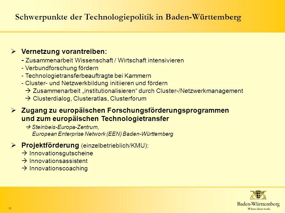 10 Schwerpunkte der Technologiepolitik in Baden-Württemberg Vernetzung vorantreiben: - Zusammenarbeit Wissenschaft / Wirtschaft intensivieren - Verbun
