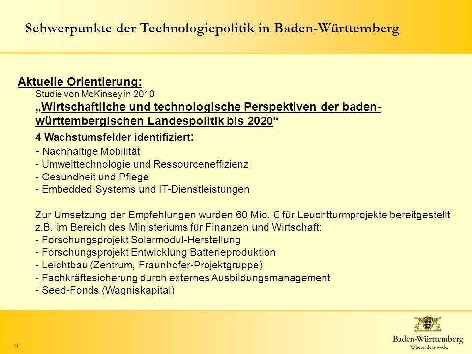 11 Schwerpunkte der Technologiepolitik in Baden-Württemberg Aktuelle Orientierung: Studie von McKinsey in 2010Wirtschaftliche und technologische Persp