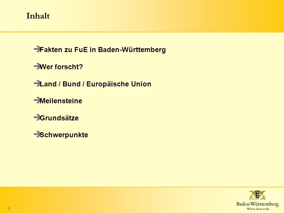 3 Inhalt Fakten zu FuE in Baden-Württemberg Wer forscht? Land / Bund / Europäische Union Meilensteine Grundsätze Schwerpunkte