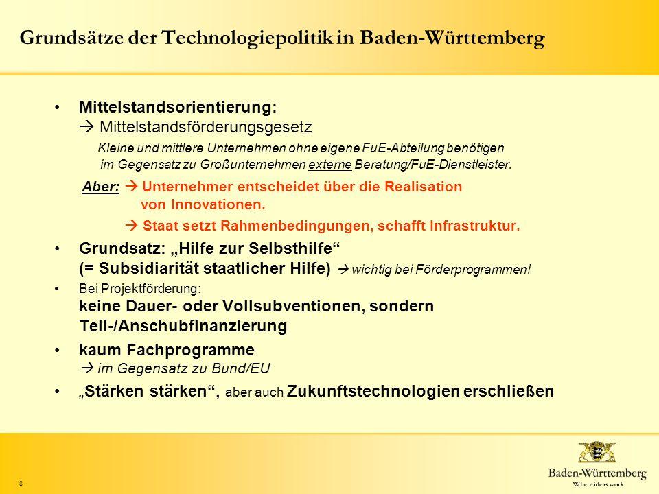 8 Grundsätze der Technologiepolitik in Baden-Württemberg Mittelstandsorientierung: Mittelstandsförderungsgesetz Kleine und mittlere Unternehmen ohne e
