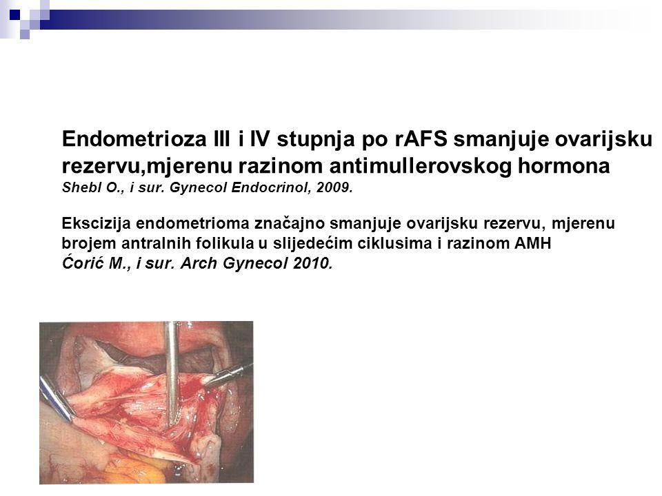 Endometrioza III i IV stupnja po rAFS smanjuje ovarijsku rezervu,mjerenu razinom antimullerovskog hormona Shebl O., i sur. Gynecol Endocrinol, 2009. E