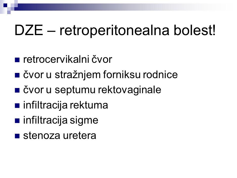 DZE – retroperitonealna bolest! retrocervikalni čvor čvor u stražnjem forniksu rodnice čvor u septumu rektovaginale infiltracija rektuma infiltracija