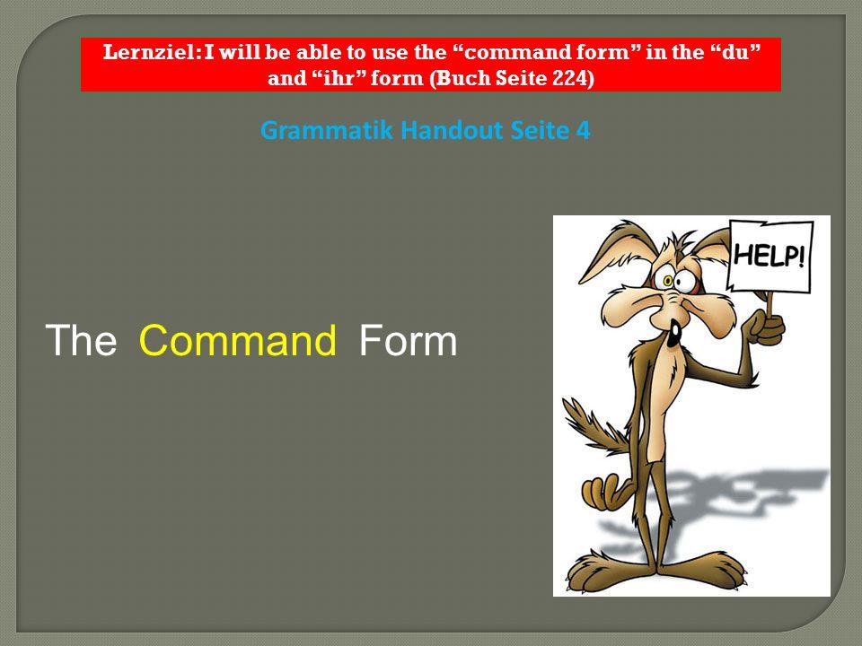 Grammatik Handout Seite 4 The FormCommand