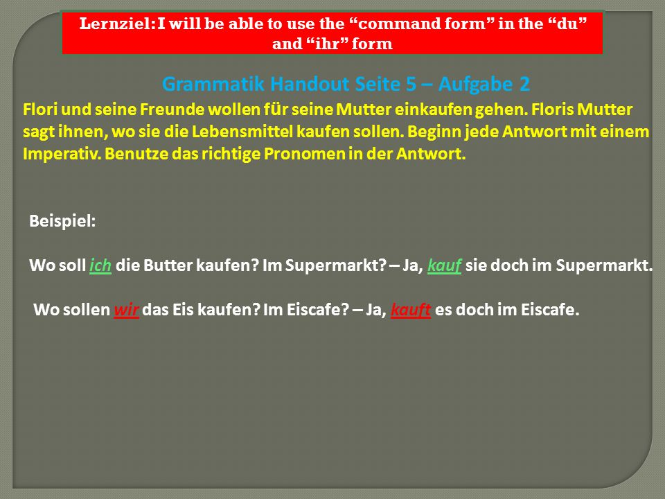 Lernziel: I will be able to use the command form in the du and ihr form 1.Wo soll ich den Fisch kaufen.