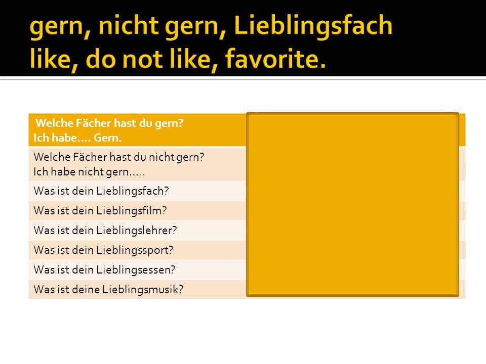 Welche Fächer hast du gern? Ich habe…. Gern. What subjects do you like? I like…. Welche Fächer hast du nicht gern? Ich habe nicht gern….. What subject