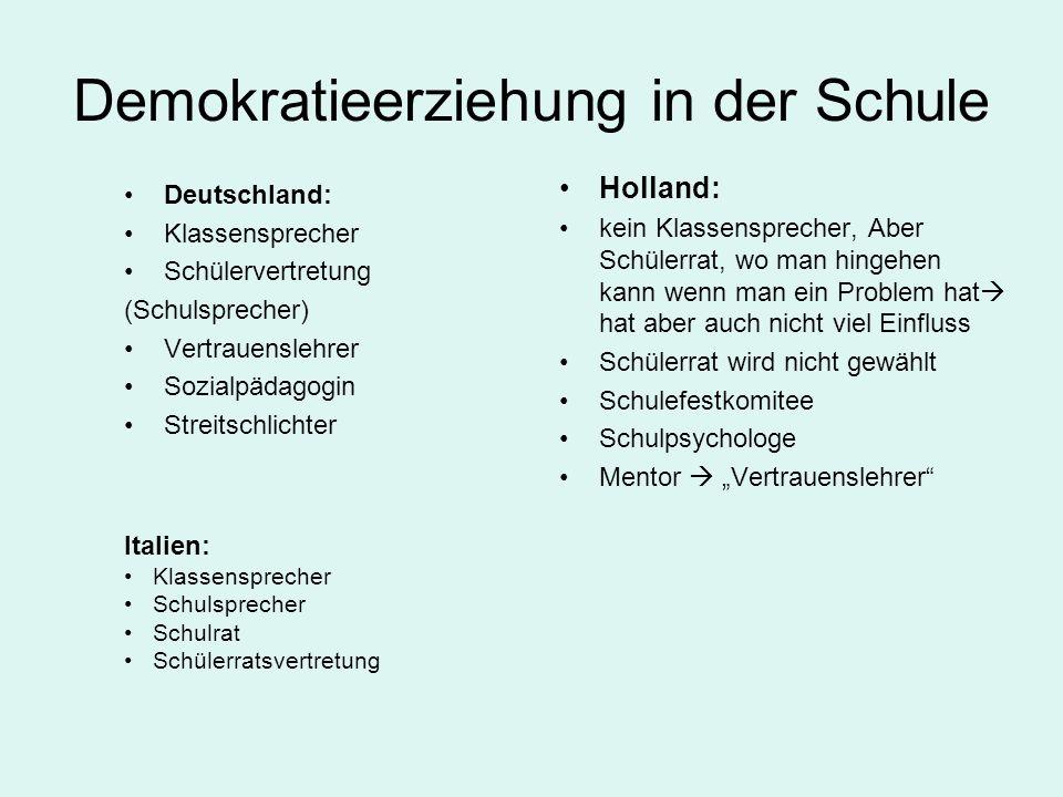 Demokratieerziehung in der Schule Deutschland: Klassensprecher Schülervertretung (Schulsprecher) Vertrauenslehrer Sozialpädagogin Streitschlichter Hol