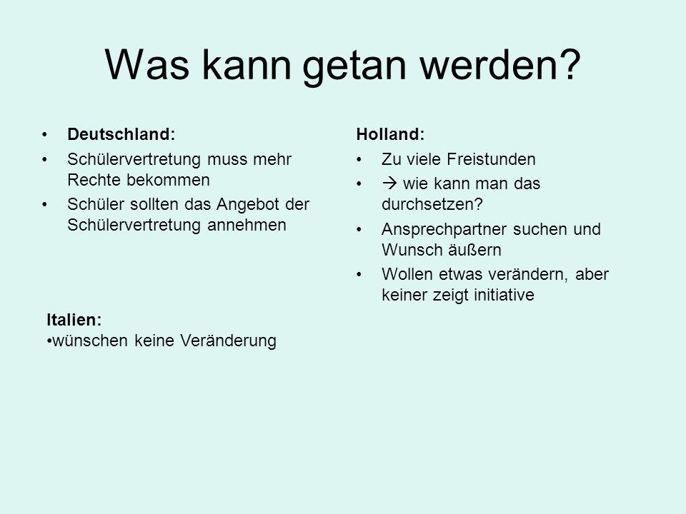 Was kann getan werden? Deutschland: Schülervertretung muss mehr Rechte bekommen Schüler sollten das Angebot der Schülervertretung annehmen Holland: Zu