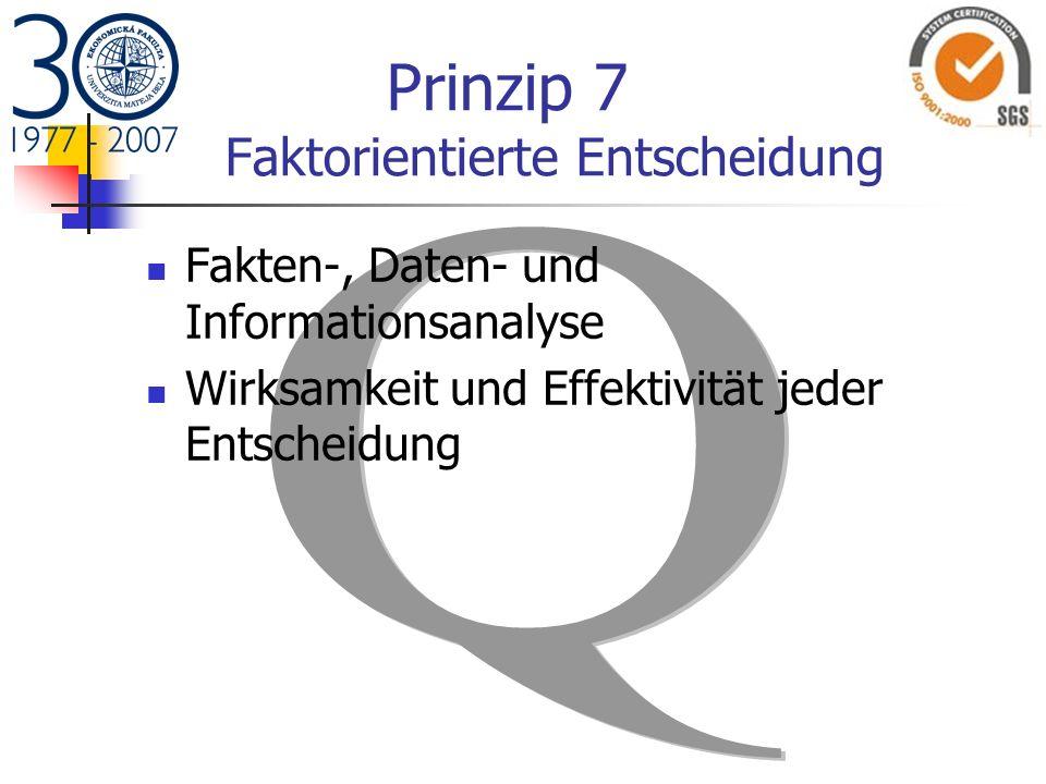 Prinzip 7 Faktorientierte Entscheidung Fakten-, Daten- und Informationsanalyse Wirksamkeit und Effektivität jeder Entscheidung