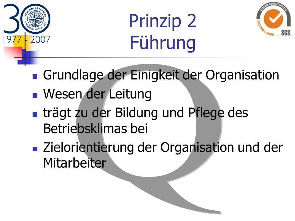 Prinzip 2 Führung Grundlage der Einigkeit der Organisation Wesen der Leitung trägt zu der Bildung und Pflege des Betriebsklimas bei Zielorientierung d